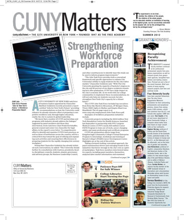 CUNY Matters cover for Summer 2012