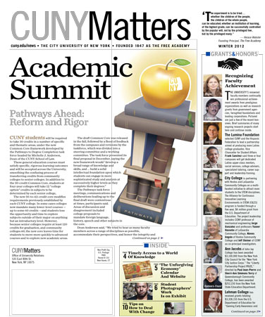 CUNY Matters cover for Winter 2012 issue
