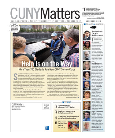 CUNY Matters cover for November 2013