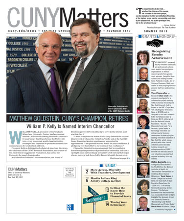 CUNY Matters cover for Summer 2013