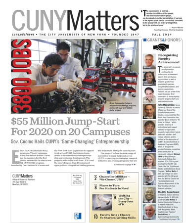 CUNY Matters cover for Fall 2014