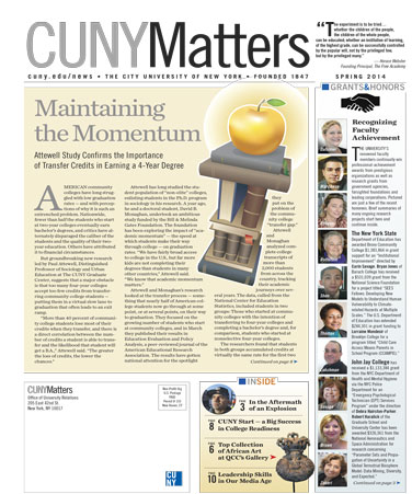 CUNY Matters cover for Spring 2014