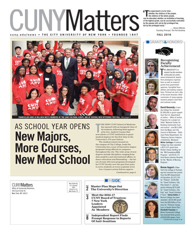 CUNY Matters cover for Fall 2016