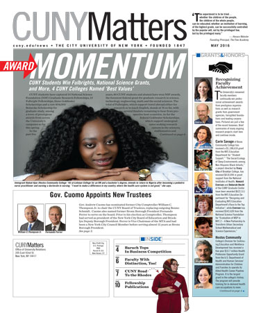 CUNY Matters cover for May 2016