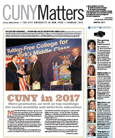 CUNY Matters cover for Winter 2017