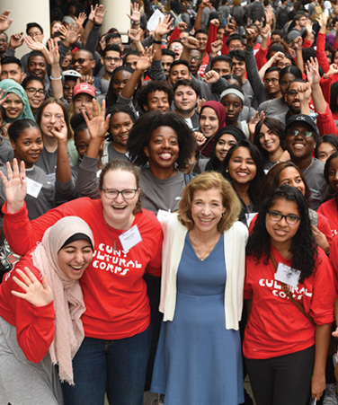 CUNY Interim Chancellor Vita C. Rabinowitz with University students at the CUNY Service Corps and CUNY Cultural Corps launch for Fall 2018