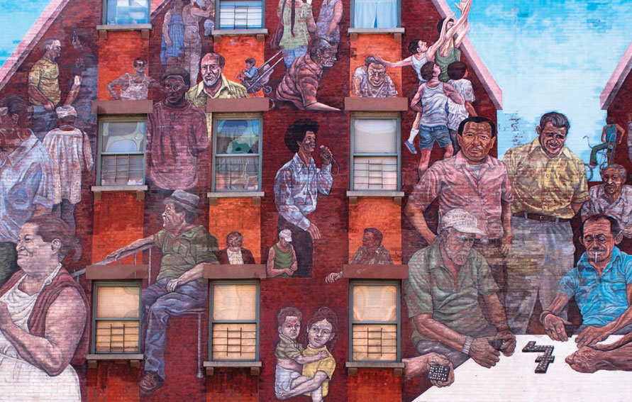 ABOVE The Spirit of East Harlem, at E. 104th Street and Lexington Avenue, painted by Hank Prussing, 1974.