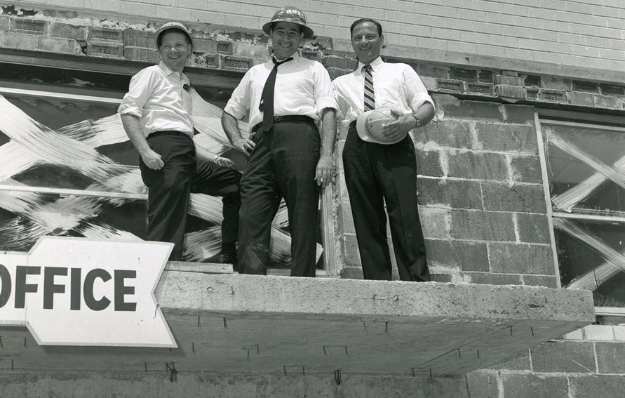 Elihu, Daniel and Frederick P. Rose during construction of The Hawthorne, New York, 1959.