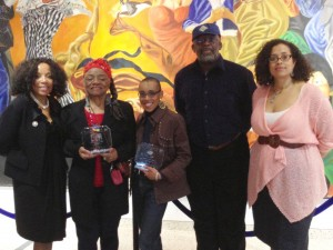 Left to right: Sylvia Gail Kinard, Esq. (Moderator); Artist Faith Ringgold; Andrea Pinkney, VP & Senior Editor Scholastic Books; Dean Carlyle Thompson (Medgar Evers College); Professor Tonya Hegamin (panelist)
